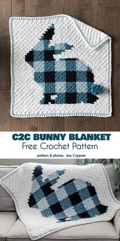 Bunny Blanket Free Crochet Pattern A perfect project for lovers. Bunny motif will be perfect as the Easter project, but if you use a neutral colors, it will Crochet Baby Blanket Free Pattern, C2c Crochet, Crochet Bebe, Crochet Pillow, Crochet Bunny, Afghan Crochet Patterns, Crochet For Kids, Baby Patterns, Free Crochet