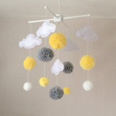 Items similar to Baby mobile - cloud mobile - yellow and grey nursery - baby girl mobile - Clouds and pom poms on Etsy Nursery Pom Poms, Clouds Nursery, Girl Nursery, Girl Room, Baby Nursery Grey, Grey Yellow Nursery, Baby Mädchen Mobile, Baby Cot Mobiles, Cloud Mobile