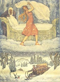 Mother Holle, illustrated by Adolf Münzer Fable, Fairytale Art, Children's Book Illustration, Mythology, Fantasy Art, Fairy Tales, Fairies, Europe, Family Roots