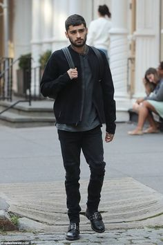 Stepping out: Zayn Malik, cut a sombre figure when he stepped out in New York City on . Estilo Zayn Malik, Zayn Malik Style, Zayn Malik Photoshoot, Celebrity Photos, Celebrity News, Zayn Malik Tumblr, Zayn Mallik, Aladdin Live, Love U Forever