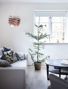 """Our Christmas tree from the woods, showed in the Danish magazine """"Hendes verden"""" Danish, Woods, Interior Decorating, Christmas Tree, Magazine, Table, Furniture, Home Decor, Teal Christmas Tree"""