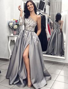 267a78cffe1 One Single Length Long Sleeves Gray Split Side Prom Dresses with Appliques   graypromdresses  greypromdresses