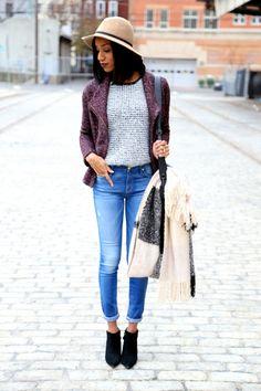 Tweed moto jacket street style | by @bloggerella | Piperlime