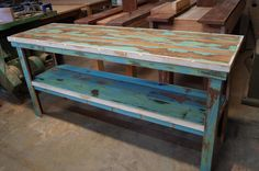 Side-table/Workbench with shelf. Recycled King William Pine with original paint and a wax finish. Raw Furniture, Furniture Making, King William, South Australia, Pine, Recycling, Wax, Shelf, The Originals