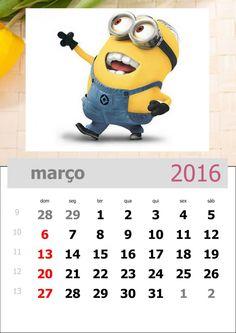 calendário dos minions mês de março de 2016