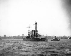 USS Rhode Island Battleship BB-17 seen off New York in 1909.  Returned to full commission on 27 March 1917 at Hampton Roads, Rhode Island broke the flag of the Commander of Battleship Division 3, Atlantic Fleet on 3 May shortly after the United States entered World War I. Undertaking vigorous gunnery practice and emergency drills to reach combat readiness, Rhode Island was assigned to anti-submarine patrol duty off Tangier Island, Maryland.