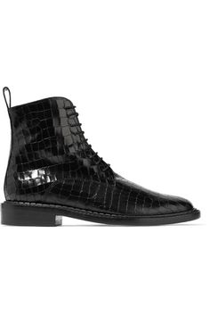 Robert Clergerie - Jacenc Glossed Croc-effect Leather Boots - Black - IT37.5