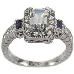 Amazon.com: Antique Diamond Sapphire Engagement Ring With GIA CERTIFIED I VS2 .70ct Center: Da'Carli: Jewelry