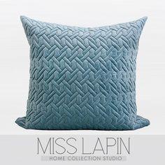 法式浪漫/样板房/家居软装/靠包抱枕/天蓝色编织立体绗棉方枕-淘宝网