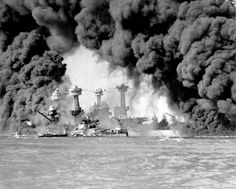 World War II: Pearl Harbor. The battleships West Virginia and Tennessee burning after the Japanese attack on Pearl Harbor, on December Pearl Harbor 1941, Pearl Harbor Tours, Pearl Harbor Attack, Hiroshima, Nagasaki, December 7 1941, Remember Pearl Harbor, Uss Arizona, Imperial Japanese Navy