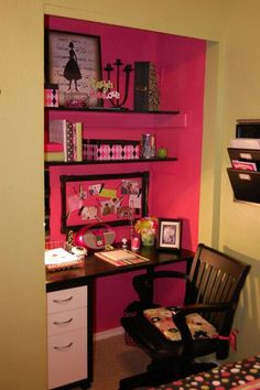 closet office with a pop of color