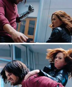 Captain America Civil War Natasha: You leave me no choice.....DO YOUR HAIR BUCKY!!! Bucky: NO!!