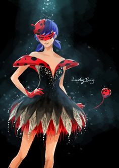 "keyade: Marinette Cheng "" Cocktail dress design inspired by the animation Miraculous Ladybug! It's a beautiful 3D animated series which is collaboration between Japanese, French and Korean animators :)"