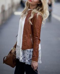 lace top / brown leather jacket / black or dark blue denim