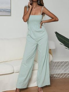 Jumpsuit 2019 New Fashion Women's Strappy Sexy Backless Playsuit Office Ladies Party Clubwear Jumpsuit Wide Led Long Pants Solid Backless Playsuit, Spaghetti, Mint, Casual Jumpsuit, Summer Jumpsuit, Overall, Ladies Party, Pop Fashion, Fashion Women
