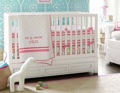 Stencil for Brynn's room- reverse...white walls and teal stencil on one wall.  Tera Paisley   Pottery Barn Kids