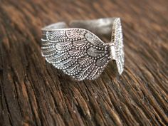 Seraphim Antique Silver Angel Wing Ring by MidnightGypsy on Etsy, $14.00