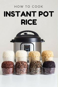 Here is your fail-proof guide for Instant Pot Rice. Basmati white rice Basmati brown rice short grain brown rice wild rice blend black rice wild rice red rice and sushi rice. Finding out how to cook rice in a pressure cooker has never been easier! Electric Pressure Cooker, Instant Pot Pressure Cooker, Pressure Cooker Recipes, Pressure Cooking, Slow Cooker, Rice Cooker, Rice In Pressure Cooker, Pressure Pot, Healthy Cooking