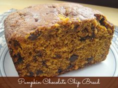 Pumpkin Chocolate Chip Bread 131 calories and 4 weight watchers points plus