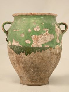 Authentic Antique French Confit Pot with Green Glaze