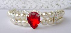 Ruby rhinestone and pearl bracelet by RhinestoneAndPearl on Etsy, $27.00