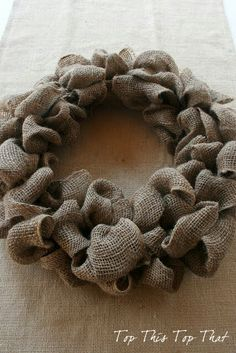 Top This Top That: The Easiest Burlap Wreath You will ever make! - Can change out decorations with the season and leave burlap wreath up year around. Easy Burlap Wreath, Burlap Wreath Tutorial, Burlap Crafts, Wreath Crafts, Diy Wreath, Hessian Wreaths, Candy Wreath, Burlap Projects, Wreath Fall