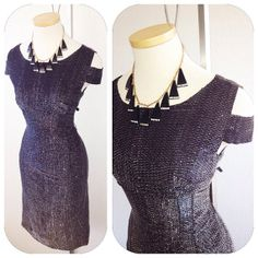 Vintage 1950s Shouder cut out Black and silver lurex by hipsmcgee, $298.00