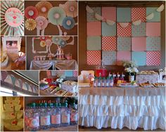 *Love the paper quilt backdrop!!*  Custom Printable Shabby Chic Tea Party by thepaperblossomshop, $40.00
