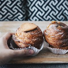 CRUFFINS |  So glad I made it back to @southmelbournemarket last weekend to grab @agathepatisserie 's amazing cruffins!!! Left to right: Nutella & salted caramel  by caleen