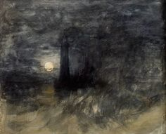 Joseph Mallord William Turner, The Eddystone Lighthouse in a Storm by a Full Moon
