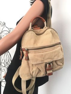 Fossil Bag Backpack Khaki Cotton Canvas Designer Fashion Boho Female Hip Trendy  #Fossil #BackpackStyle