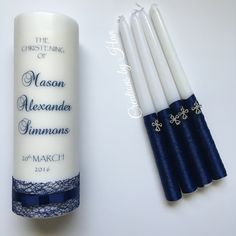 Baptism candle set in navy blue