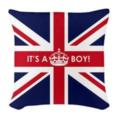 Princess Kate should decorate the Royal Nursery with this cute British Flag Its a Boy Burlap Throw Pillow $28.99