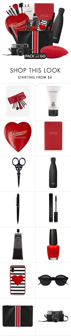 """""""INSIDE MY BAG"""" by amber-loo ❤ liked on Polyvore featuring MAC Cosmetics, Smythson, The BrowGal, S'well, Cartier, Forever 21, Grown Alchemist, David Jones, Kate Spade and Givenchy"""