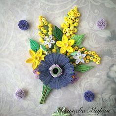 Букет, цветы, квиллинг, quilling