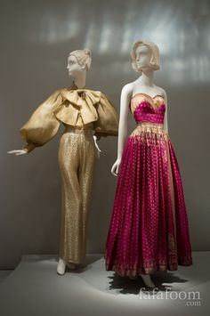 Left to right: Norman Norell, Evening ensemble, Mainbocher, Evening dress, Designer couture evening wear pantsuit gold lurex pink Asian gold gown dress strapless Indian fabrics Moda Fashion, 70s Fashion, Fashion History, Indian Fashion, High Fashion, Vintage Fashion, Anarkali, Lehenga, Vintage Gowns