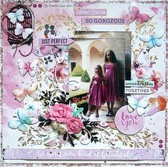 Just Perfect with Wildflower Scrapbook Page Layouts, Scrapbook Albums, Scrapbooking Ideas, Wedding Scrapbook, Wild Flowers, Stencils, Card Making, Arts And Crafts, Embossing Powder