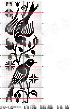 birds, fillet crochet free chart.