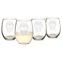 Halloween Sugar Skull Stemless Wine Glasses - 4ct