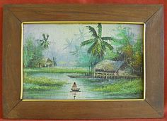 Antique Vintage Painting Tropical Marine Landscape Polynesia Thatch Hut s B | eBay