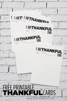Free Printable Thankful Cards - All for the Boys