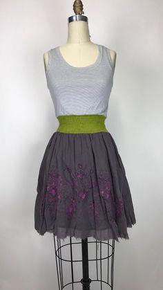 Anthropologie Scrapbook Originals Floral Stripes Dress Size M #ScrapbookOriginals