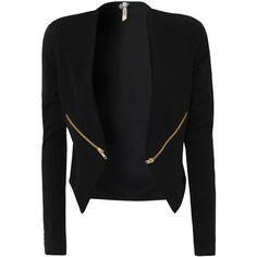 Ribbon Zip Detail Blazer ($24) ❤ liked on Polyvore