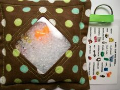 I Spy Bag Polka Dots on Brown Neutral themed contents by JanetR