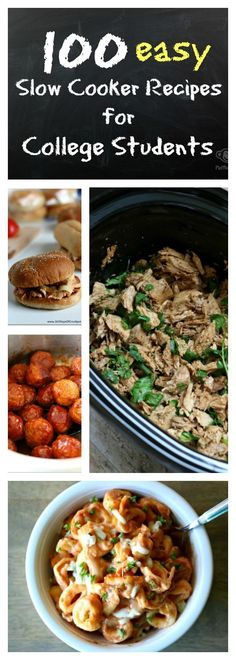 100 slow cooker recipes for college students. Slow Cooker Huhn, Crock Pot Slow Cooker, Slow Cooker Recipes, Cooking Recipes, Healthy Recipes, Healthy Tacos, Budget Recipes, Healthy Meals, Vegetarian Recipes