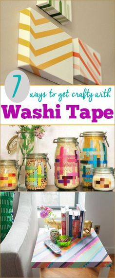 7 Ways to get Crafty with Washi Tape.  Home decor and more using wash tape.  Turn something thrifty into something nifty!