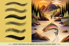 Ad: Dry Texture Brushes for Procreate by Trailhead Design Co. on Introducing the perfect dry brush pack for Procreate! This set of 30 brushes includes everything you need to pencil, ink and shade with dry Best Procreate Brushes, Calligraphy Artist, Ink Wash, Process Art, Dry Brushing, Paper Texture, How To Introduce Yourself, Photoshop, Graphic Design
