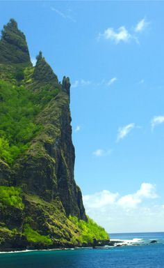 Characteristic formed cliff of Fatu Hiva, Marquesas Islands, French Polynesia. Credit: George Goodman