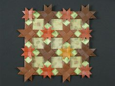 Ohio star created by John Montroll. Kami and some printed paper. Origami Quilt, Paper Quilt, Ohio, Christmas Crafts, Coasters, Autumn, Quilts, Blanket, Creative