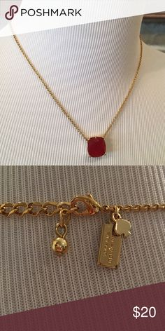 "Kate Spade Red ""Mini Stone Pendant"" Necklace Dainty Necklace sits right below collar bone. kate spade Jewelry Necklaces"